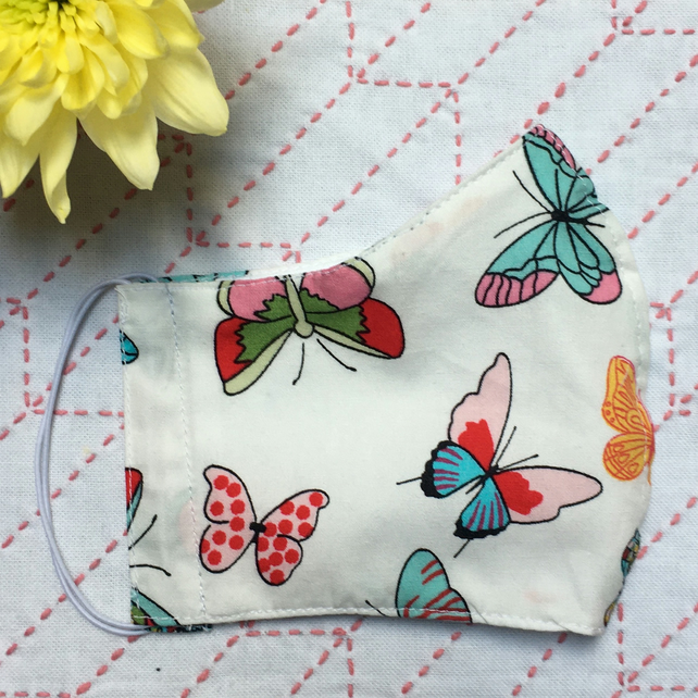 SALE Butterfly Cotton Fabric Face Mask Adult Child Reusable
