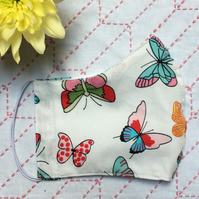 Butterfly Cotton Fabric Face Mask with Nose Wire & Pocket Adult Child Reusable