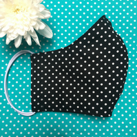 Black Spotty Dots Cotton Reusable Face Mask with Nose Wire Pocket Adult Child