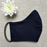 Plain Blue Cotton Fabric Face Mask with Nose Wire & Pocket Adult Child Reusable
