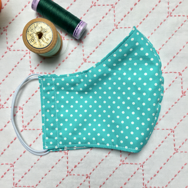 Reusable Turquoise Cotton Spotty Dots Face Mask Nose Wire & Pocket Adult Child