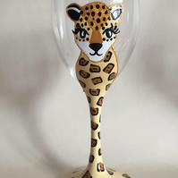 Handpainted Leopard Wine Glass