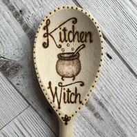 Kitchen Witch Pyrography Wooden Spoon
