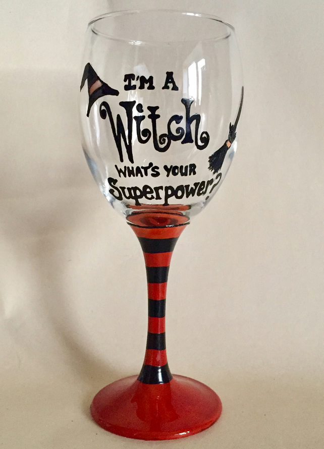 Handpainted Halloween Witch Wine Glass