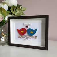 Personalised Love birds, Wedding gift, Anniversary gift, first anniversary,