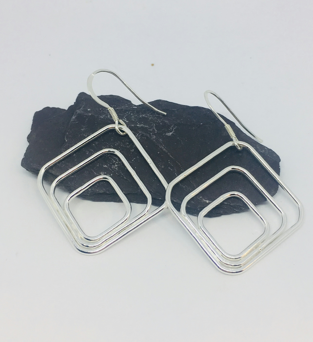 Square silver earrings, geometric earrings, Art Deco earrings, square dangles
