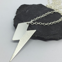 Lightning bolt necklace, silver lightning pendant, Bowie necklace