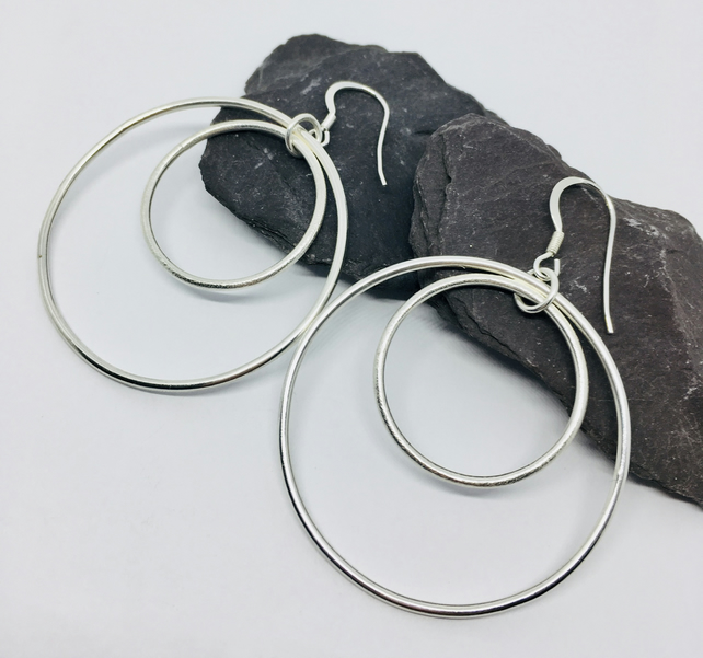 Large silver earrings, silver circle earrings, silver statement earrings