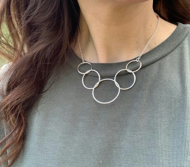 Large silver circles necklace, sterling silver statement necklace