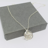 Silver knot pendant, silver love knot necklace, silver ball pendant