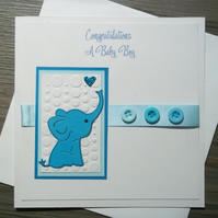 Baby Elephant new baby card, 1st birthday  christening card