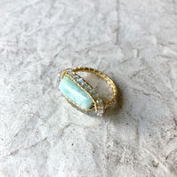 Labradorite and Amazonite ring