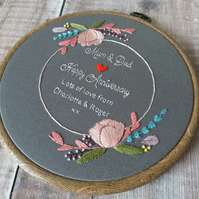 Grey Floral Wedding Anniversary Gift - Custom Hand Embroidered Hoop