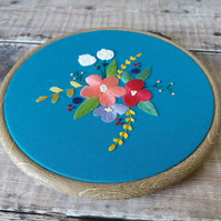 Teal Floral Embroidery Hoop Art - Floral Wall Art - Gifts For Her