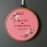 Floral Blush Wedding Gift, Wedding Anniversary Gift, Hand Embroidered Hoop