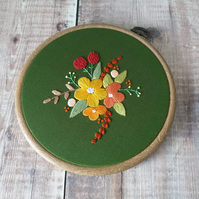 Forest Green Floral Hand Embroidery Hoop Art - Textile Flower Embroidery