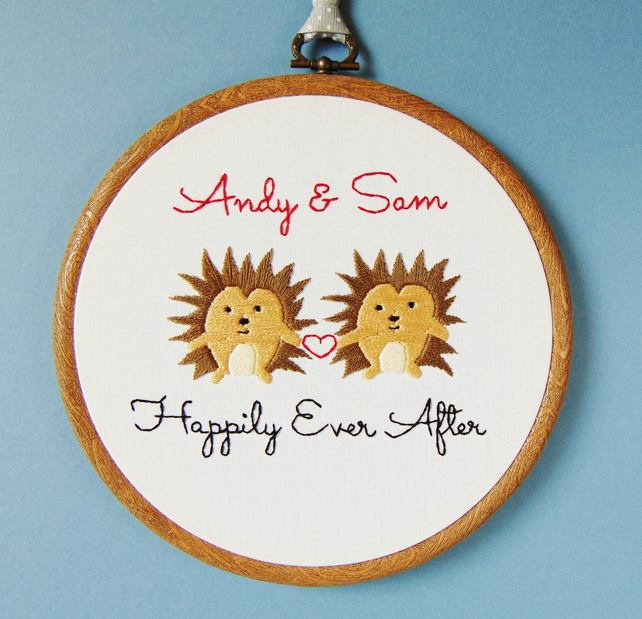 Hedgehog Cotton Anniversary Gift, Wedding Anniversary, His and Her Couples Gift