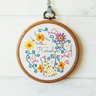 Quirky Embroidery Gift for Her, Personalised Unique Gift, Hand Embroidered