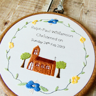 Personalised Christening Gift - Hand Embroidered Hoop, Gift For Godchild