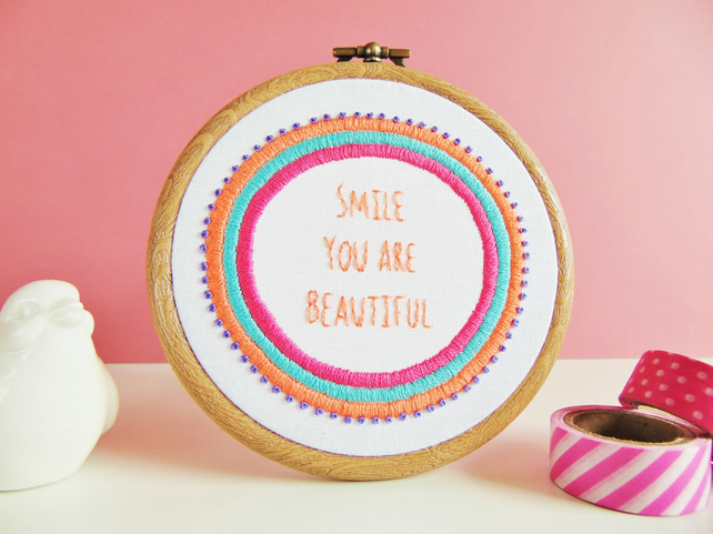 Smile You Are Beautiful Embroidery Hoop, Confidence Gift For Her,Empowering Gift