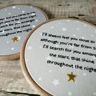 Memorial Stars, Hand Embroidered Hoop, Memorial Gift, Remembrance Gift