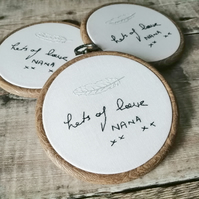 Actual Handwriting (Mini Hoop), Hand Embroidered Memorial Handwriting Hoop