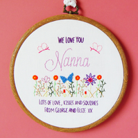 Personalised Mothers Day Gift For Grandma, Gift For Nan, Hand Embroidered Hoop