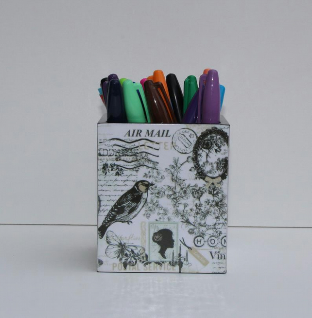 Handmade decoupage black and white postage stampl themed pen holder