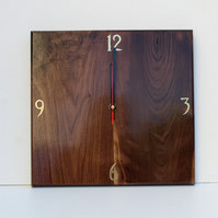 Wooden wall clock made from  Black American Walnut
