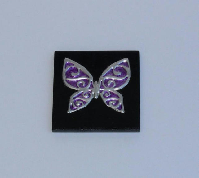 Hand embossed pewter butterfly
