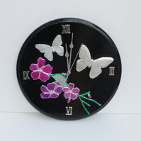 Flowers and butterfly's hand embossed pewter and wood wall clock