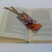 Tiger themed, wooden decoupage bookmark