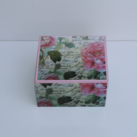 Pink Carnation Wooden Trinket Box