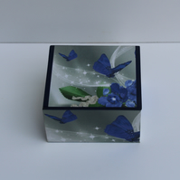 Decoupage, Dark blue butterfly, trinket box