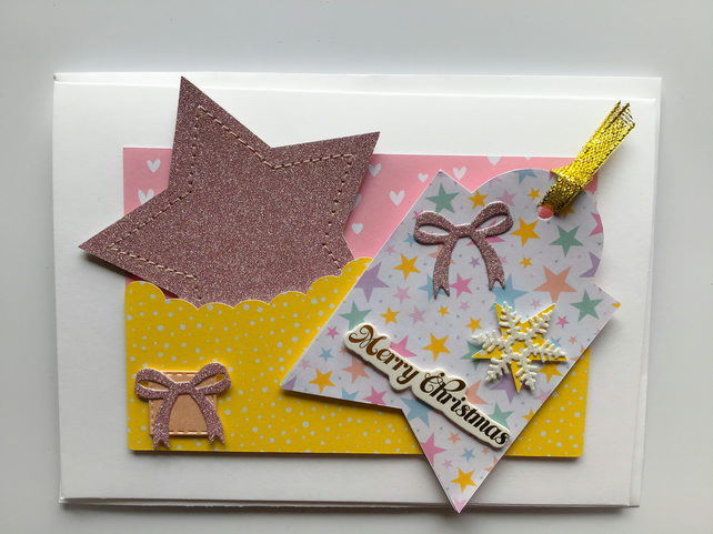 Glitter Star Christmas Card
