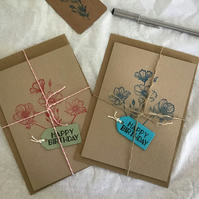 Pack of Two Red and Blue Hand Stamped Birthday Cards
