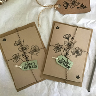 Two Hand Stamped Flower Birthday Cards