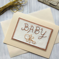 Pearlescent Cream Embroidered Baby Card