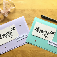 Pack of Two Hand Stamped Bird Birthday Cards