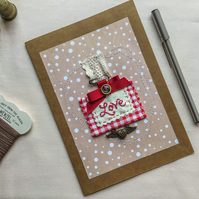 Greetings Card with Detachable Embroidered Red Brooch