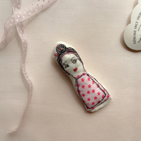 Kooky Lady Embroidered Brooch