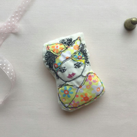 Quirky Lady Hand Stitched Brooch Pin