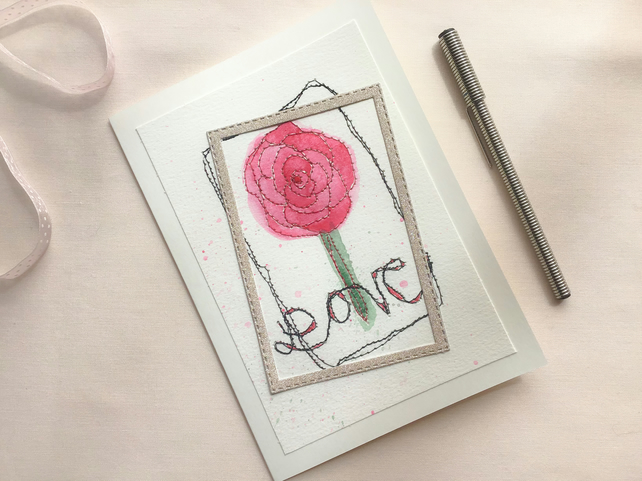 Embroidered  Pink Flower Greetings Card