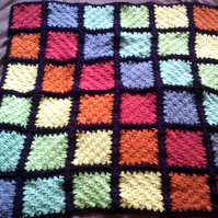 Rainbow Patches delicately textured lap blanket ideal for wheel chair