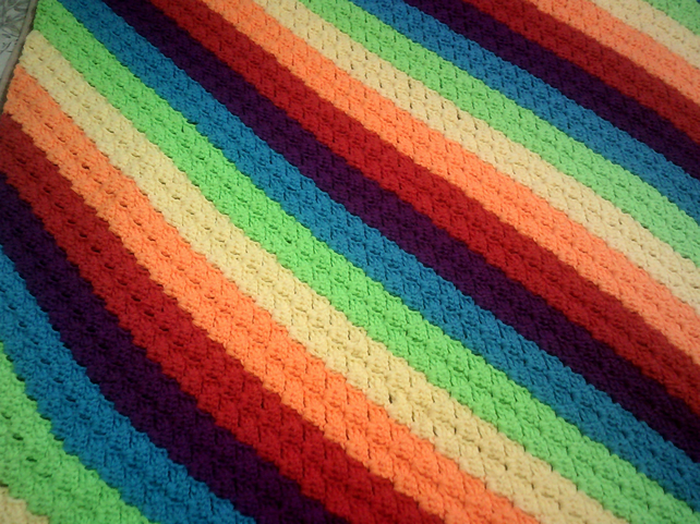 Diagonal rainbow striped throw lap or picnic blanket bedspread