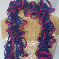 lacy summer scarf dark blue with pink trim