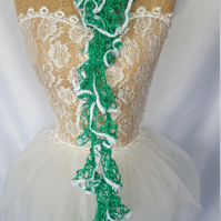 stunning green and white lacy summer scarf