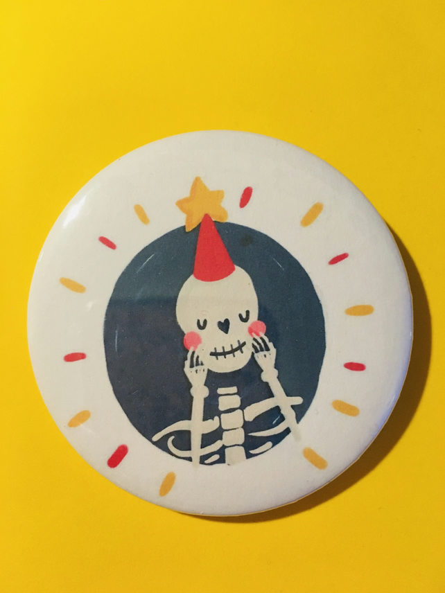 Dead Good Skeleton Button Pin Badge - 58mm Small Gift Stocking Filler