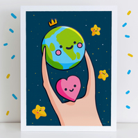 My Whole World High Quality Art Print A4 or A3