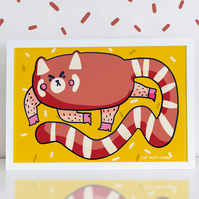 Chunky Red Panda High Quality Art Print A4 or A3